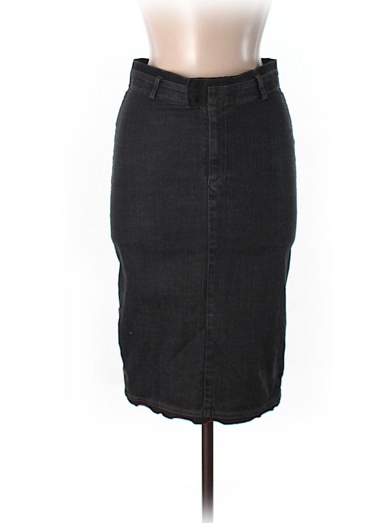 15270f49 LE JEAN DE MARITHE FRANCOIS GIRBAUD Solid Black Denim Skirt 26 Waist ...