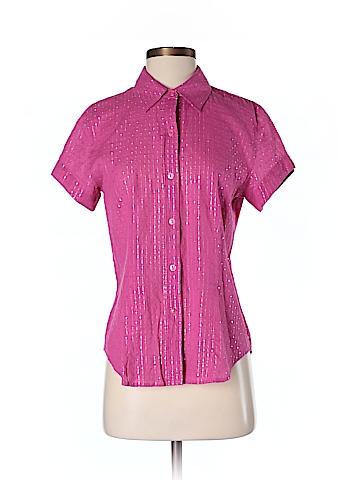 Chico's Women Short Sleeve Button-Down Shirt Size S