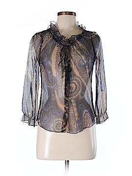 Sandra Ingrish Long Sleeve Silk Top Size XS