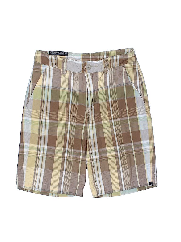 Quiksilver 100 cotton plaid dark green shorts size 12 for Bureau quiksilver