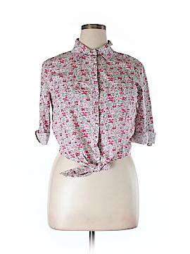 Guess 3/4 Sleeve Button-Down Shirt Size XL