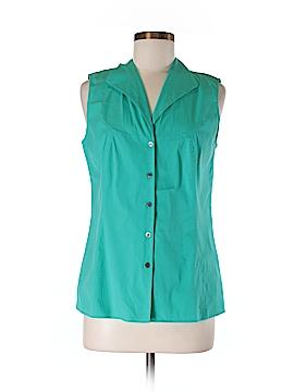 Lafayette 148 New York Sleeveless Button-Down Shirt Size 8
