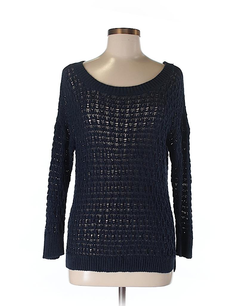 44952a1c8ce Ann Taylor LOFT 100% Cotton Crochet Dark Blue Pullover Sweater Size ...