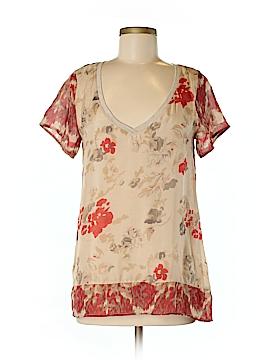 Language Short Sleeve Silk Top Size M