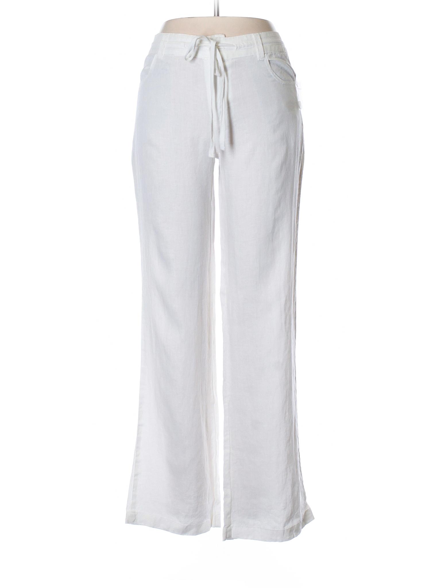 Cynthia Rowley Tjx 100 Linen Solid White Linen Pants Size