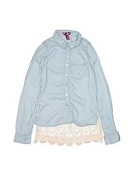 Aqua Long Sleeve Button-Down Shirt Size S (Kids)