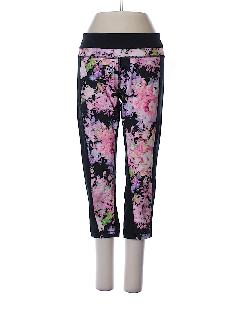 Cynthia Rowley Tjx Floral Black Active Pants Size S 80