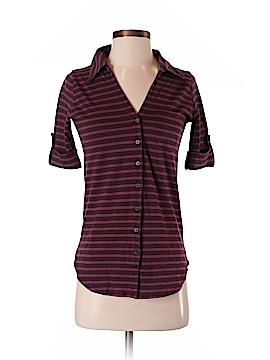 Velvet Short Sleeve Button-Down Shirt Size P