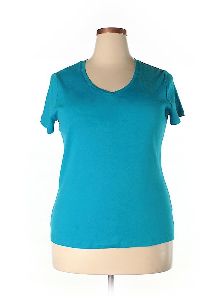St John 39 S Bay 100 Cotton Solid Blue Short Sleeve T Shirt