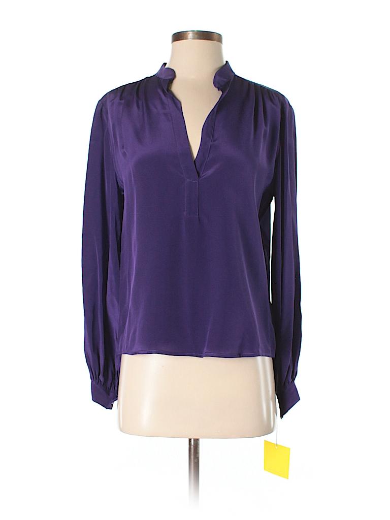 Aaron Ashe Women Long Sleeve Silk Top Size S