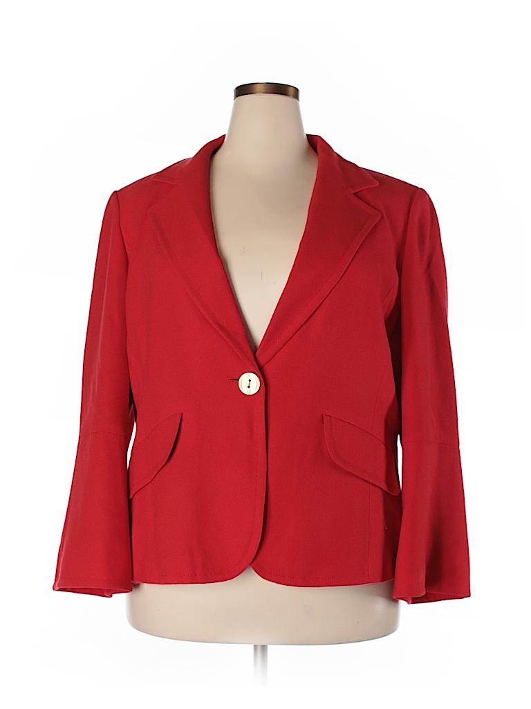 Ellen Tracy Women Wool Blazer Size 18 (Plus)