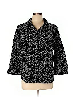 Denim Co 3/4 Sleeve Button-Down Shirt Size L
