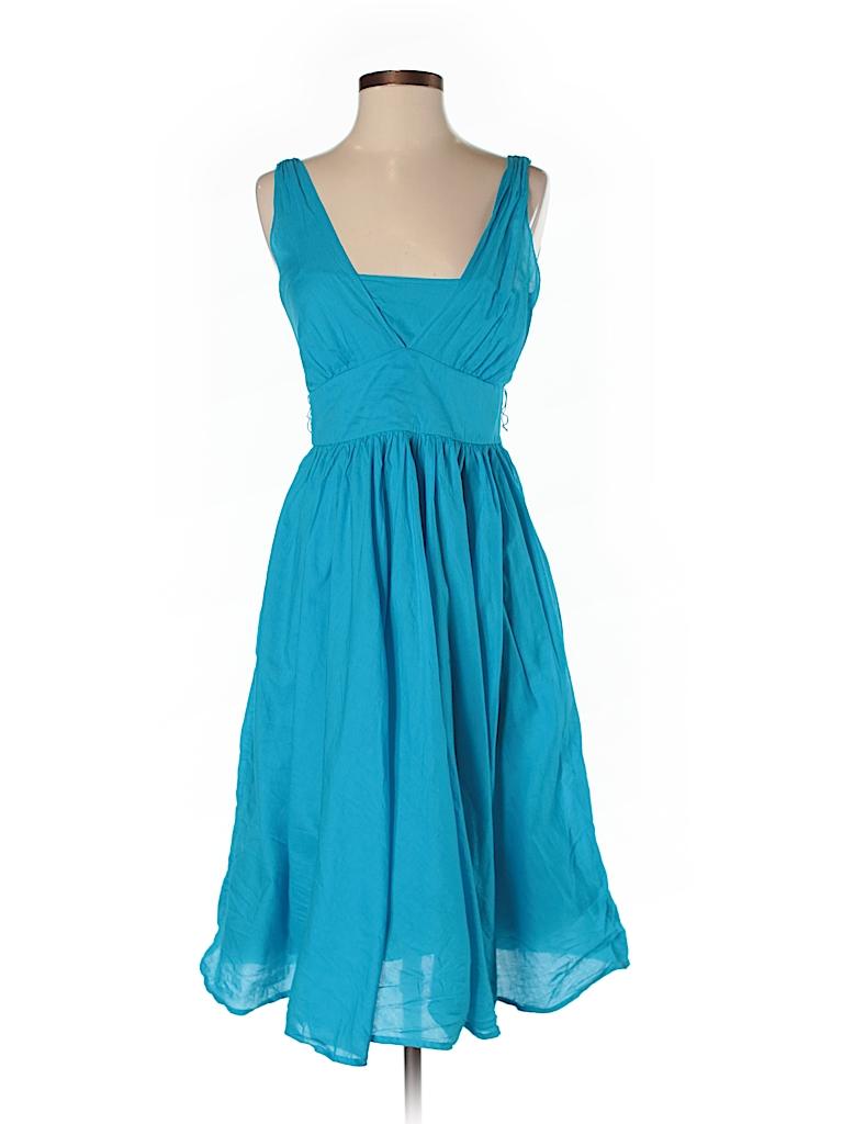Calvin Klein 100% Cotton Solid Dark Blue Casual Dress Size 4 - 74 ...