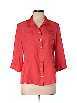 Elie Tahari 3/4 Sleeve Button-Down Shirt Size L
