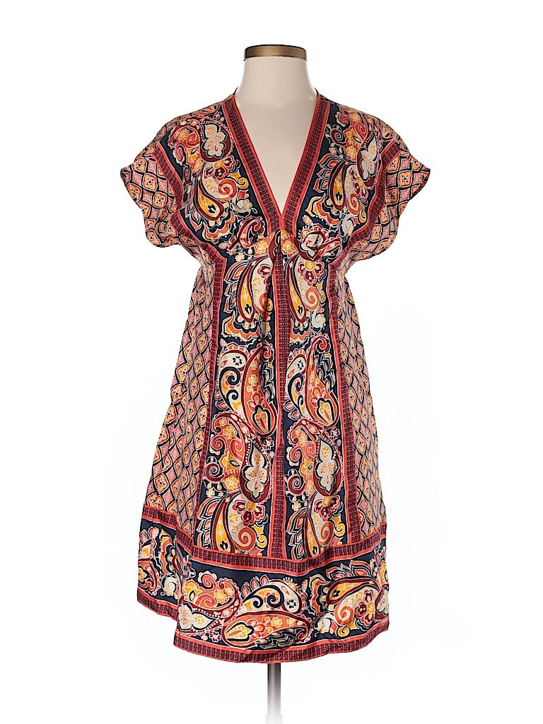 3529ba6f93320e Banana Republic 100% Silk Print Orange Casual Dress Size XS - 91 ...