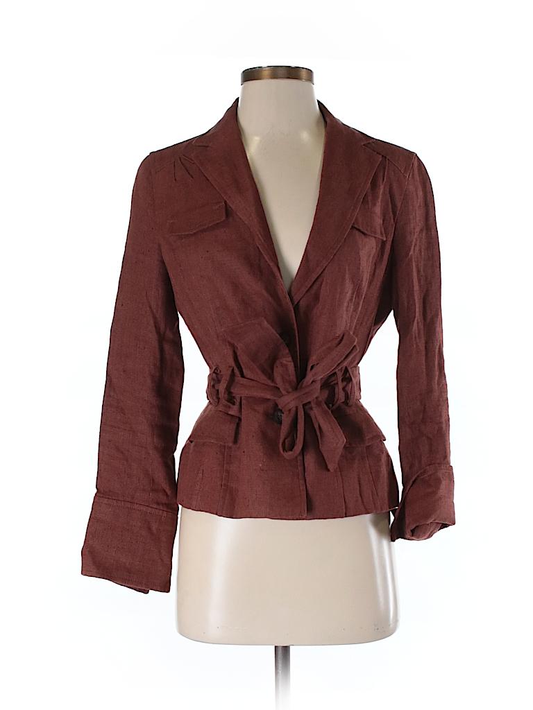 45d8793bf5 Zara Basic 100% Linen Solid Brown Blazer Size M - 91% off