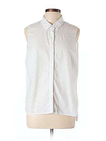 Jones New York Signature Sleeveless Button-Down Shirt Size L