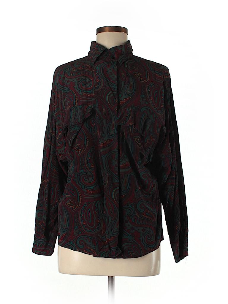910a7c708a35eb Linda Allard Ellen Tracy 100% Silk Print Burgundy Long Sleeve Silk ...
