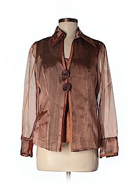 Donna Degnan Long Sleeve Silk Top Size 8