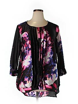 Melissa Masse 3/4 Sleeve Silk Top Size 1X (Plus)