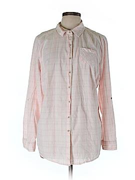 Ruff Hewn 3/4 Sleeve Button-Down Shirt Size 1X (Plus)