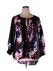 Melissa Masse Women Long Sleeve Silk Top Size 1X (Plus)