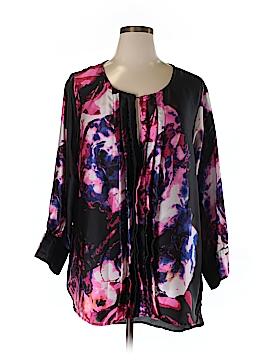 Melissa Masse Long Sleeve Silk Top Size 2X (Plus)