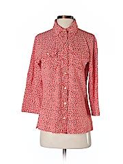 Lands' End Women 3/4 Sleeve Button-Down Shirt Size S