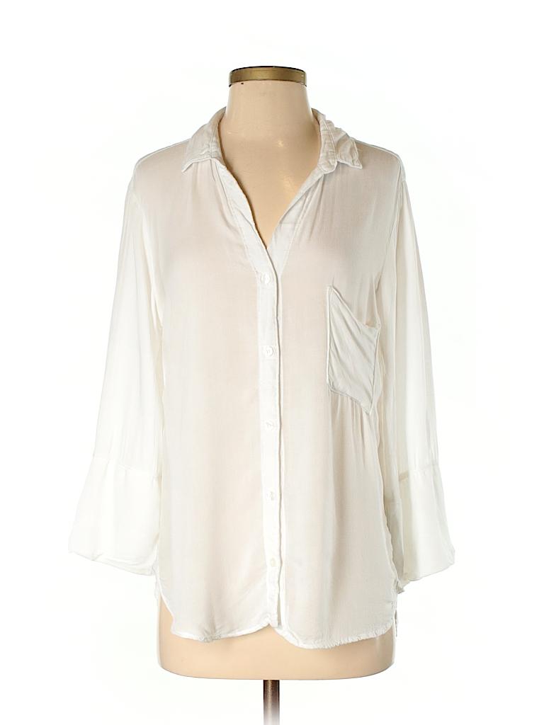 Zoe & Sam Women 3/4 Sleeve Button-Down Shirt Size S