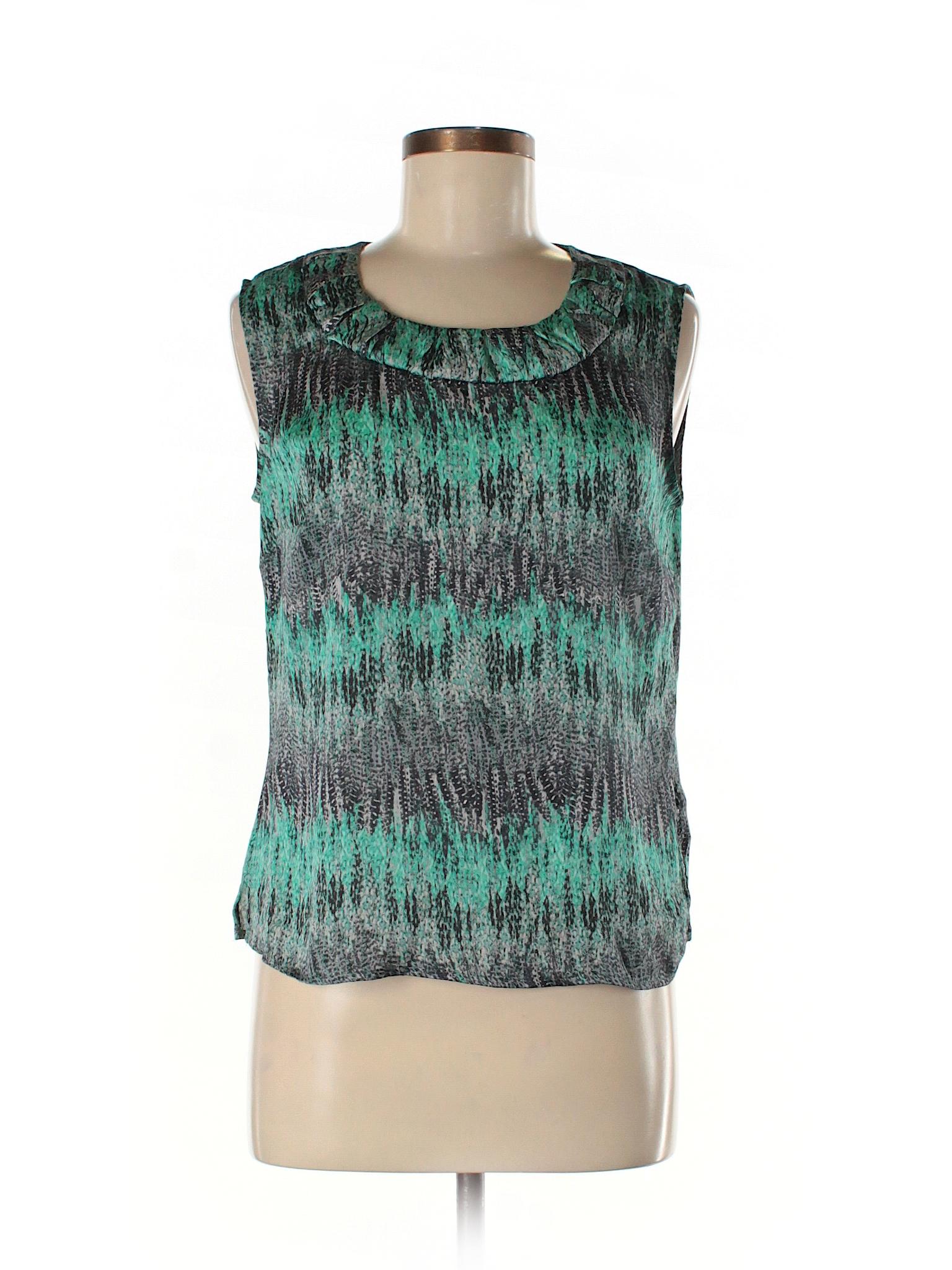 f33d9e6877066 Kasper 100% Polyester Print Teal Sleeveless Blouse Size M (Petite ...
