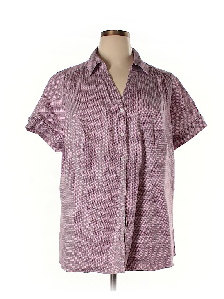 Lane Bryant Print Purple Short Sleeve Button Down Shirt