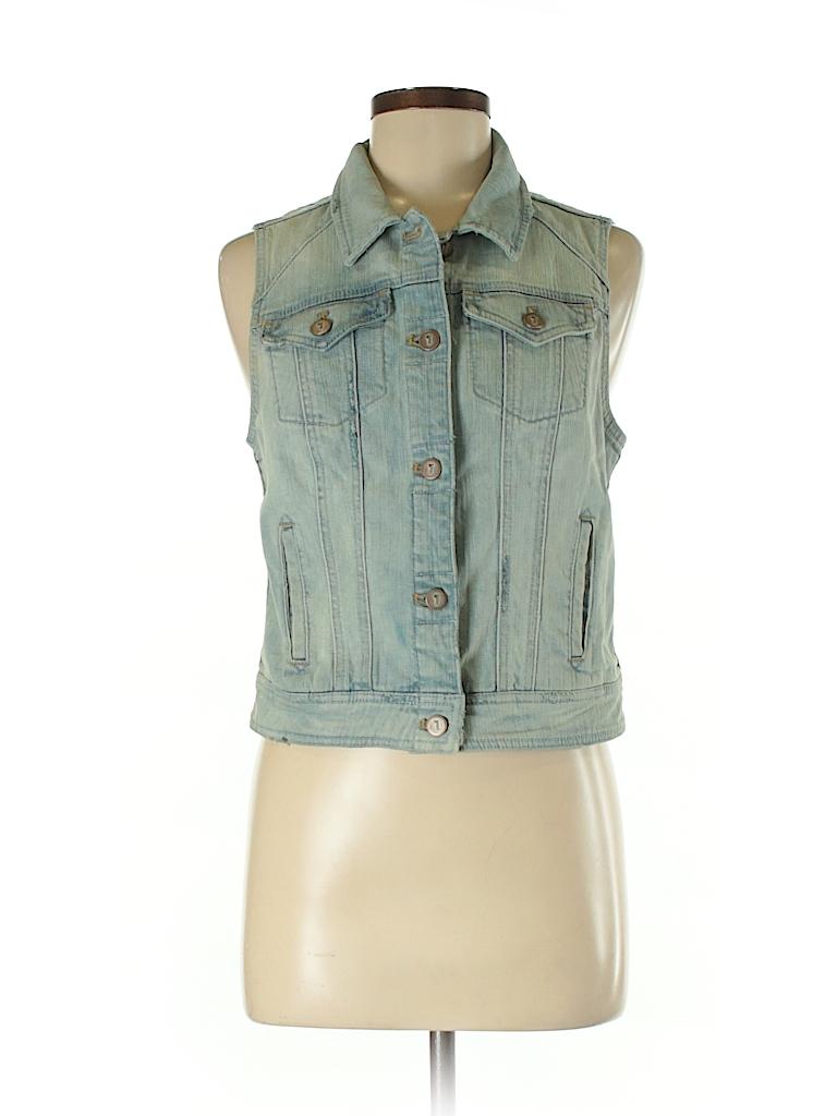 5fb7d9f02f48 Pilcro and The Letterpress 100% Cotton Solid Blue Denim Vest Size S ...