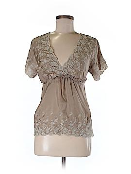 Gold Hawk Short Sleeve Silk Top Size S