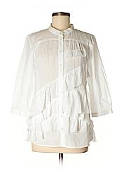 Garnet Hill Women 3/4 Sleeve Button-Down Shirt Size 8 (Petite)
