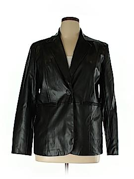 Susan Graver Women Faux Leather Jacket Size L