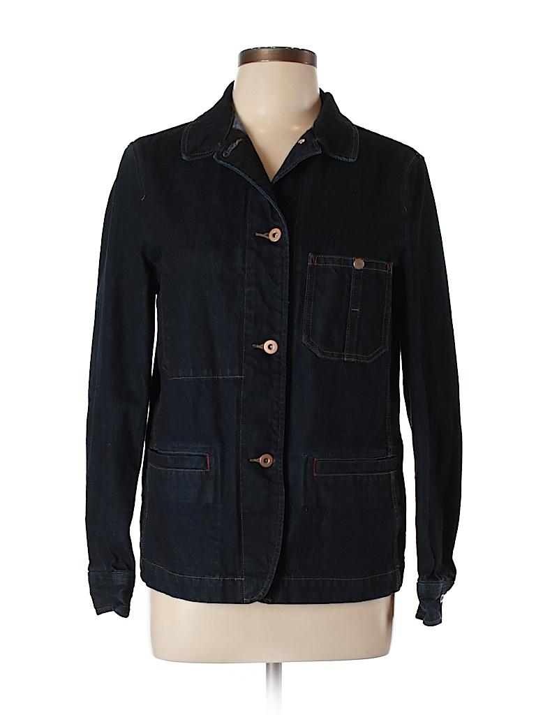 Uniqlo 100 Cotton Solid Dark Blue Denim Jacket Size L 65 Off