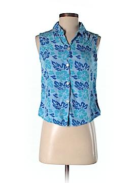 Blue Ginger Sleeveless Button-Down Shirt Size XS
