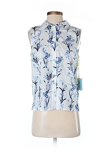 CeCe Sleeveless Button-Down Shirt Size S