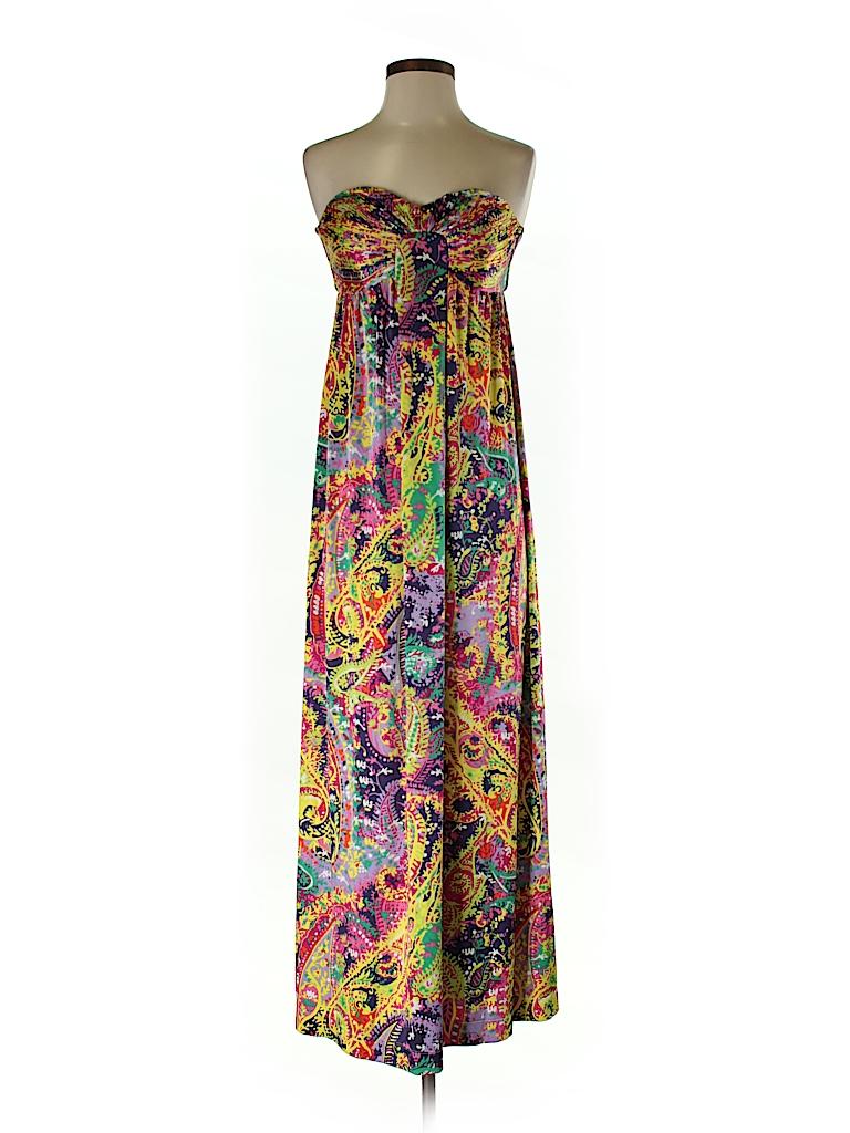 77e603993a0 Gianni Bini 100% Polyester Print Dark Purple Casual Dress Size S ...