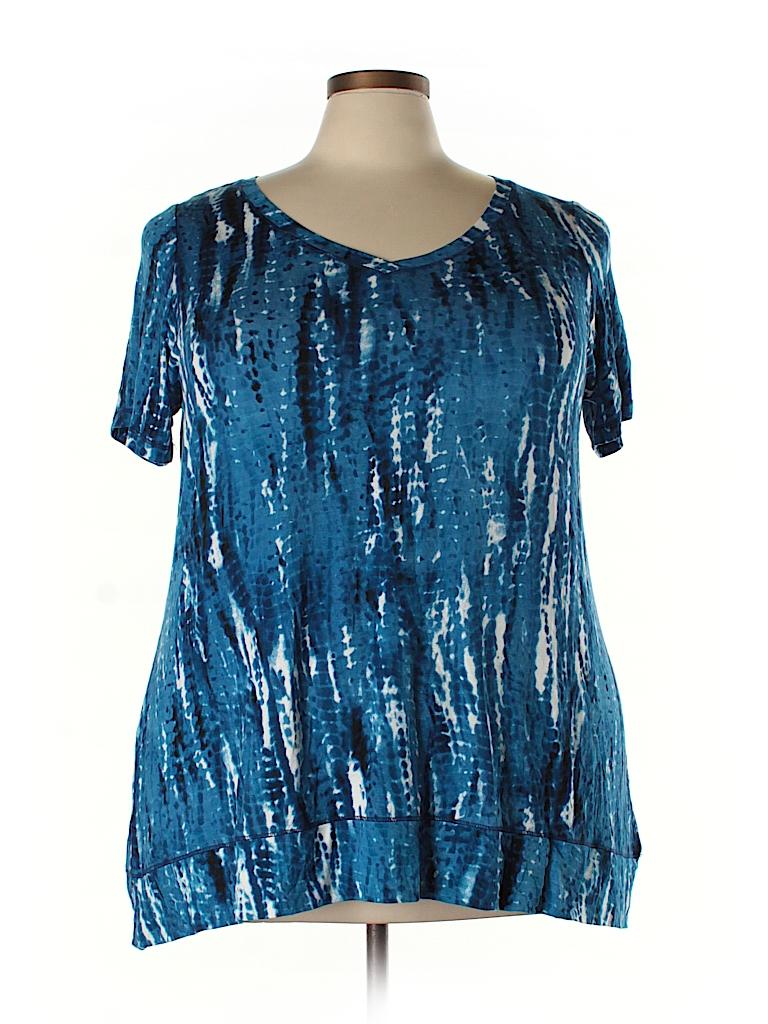 Cynthia rowley for t j maxx print blue short sleeve t for Tj maxx t shirts