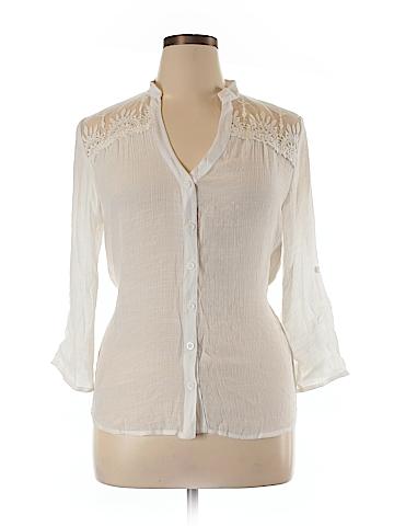 Heart Soul 3/4 Sleeve Button-Down Shirt Size XL
