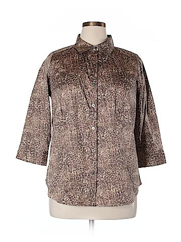Talbots Long Sleeve Button-Down Shirt Size 16W Petite (Petite)