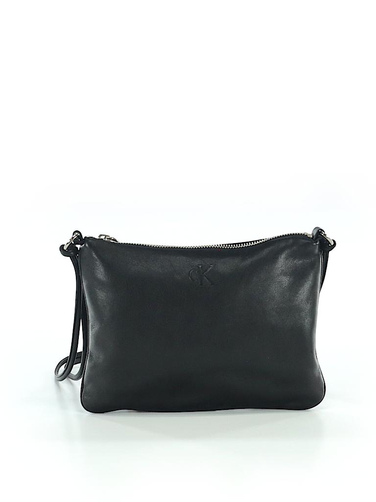 b9dff260ef Calvin Klein Solid Black Leather Shoulder Bag One Size - 89% off ...