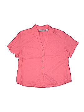 Sag Harbor Short Sleeve Button-Down Shirt Size L (Petite)