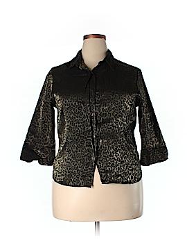 Kathie Lee 3/4 Sleeve Button-Down Shirt Size XL