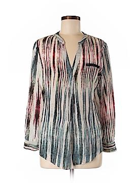 Waverly Grey Long Sleeve Silk Top Size M