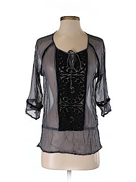 Black Rainn 3/4 Sleeve Silk Top Size S