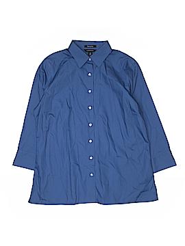 Lands' End 3/4 Sleeve Button-Down Shirt Size 14 (Tall)