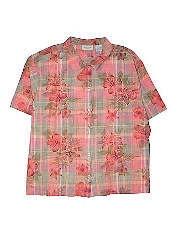 Lemon Grass Short Sleeve Button-Down Shirt Size 5X (Plus)