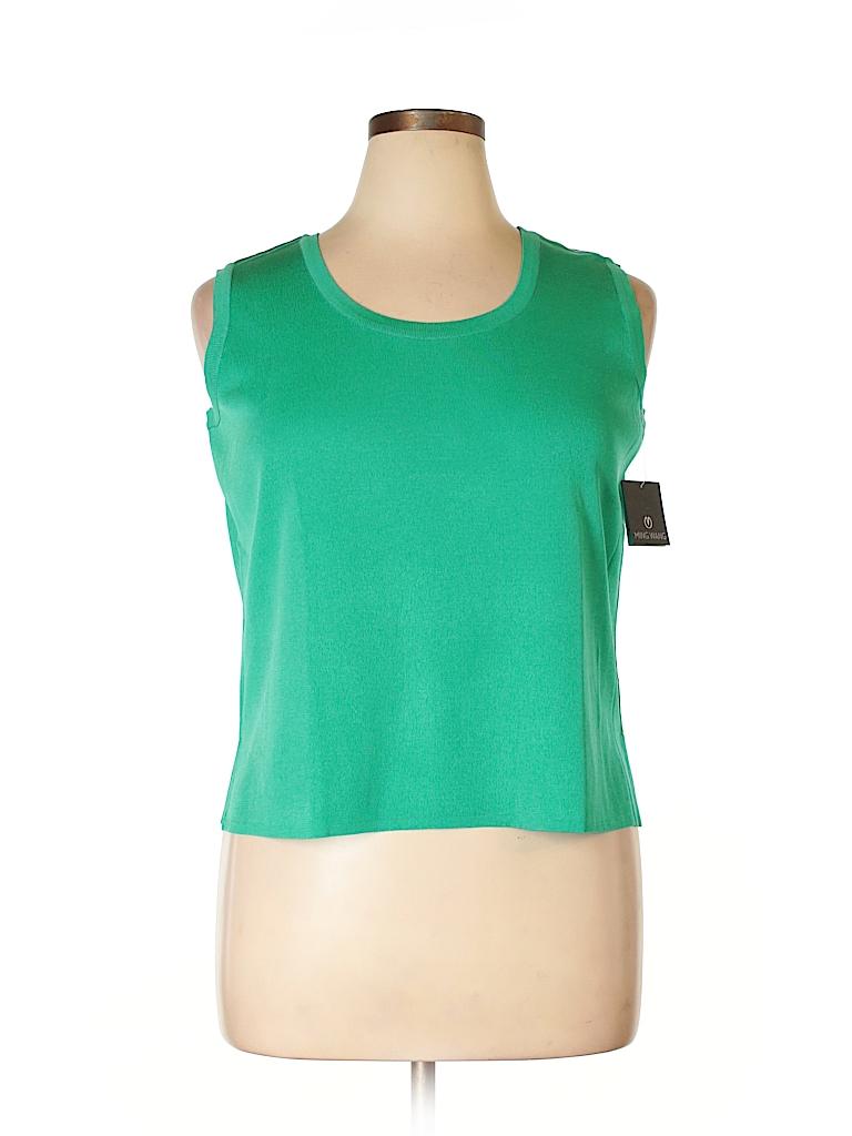 82eae54bcaa3d MING WANG 100% Acrylic Solid Green Sleeveless Top Size XL (Petite ...